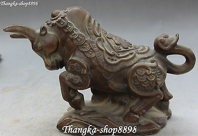Chinese Bronze Wealth Money Zodiac Year Ox Oxen Bull Cow Cattle Animal Statue