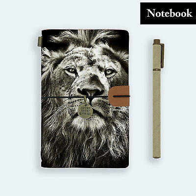 Hand Made Genuine Leather Journal Travel Diary Travelers Notebook Size Lion
