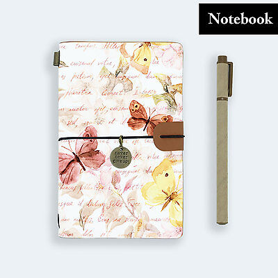 Hand Made Genuine Leather Journal Travel Diary Travelers Notebook Size Butterfly