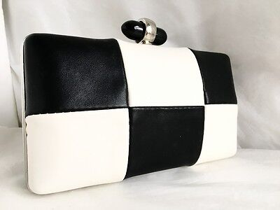 New Black White Check Faux Leather Hard Compact Evening Clutch Bag Xmas Party