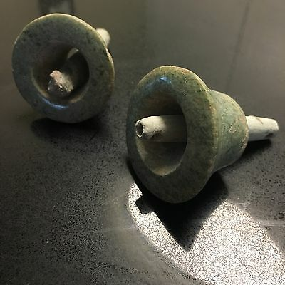 Pre Columbian Greenstone Ear Spools With Tubes $ REDUCED