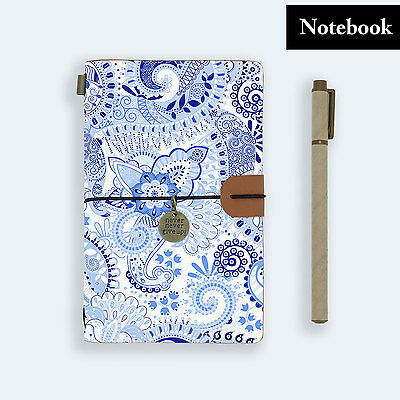 Genuine Leather Journal Travel Diary Travelers Notebook Size Abstract Pattern