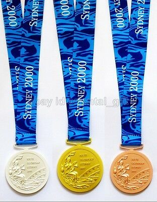 Sydney 2000 Olympic Gold/Silver/Bronze Medals with Ribbon Souvenir 1:1 Full Size