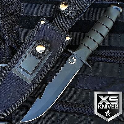 "10.5"" SAWBACK Fixed Blade GUT HOOK Tactical Hunting Survival Knife Bowie BLACK"
