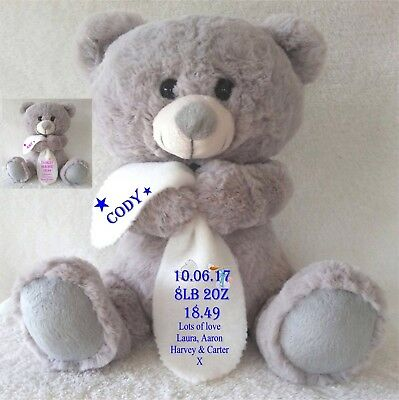Personalised Grey Teddy Bear With Blanket New Born