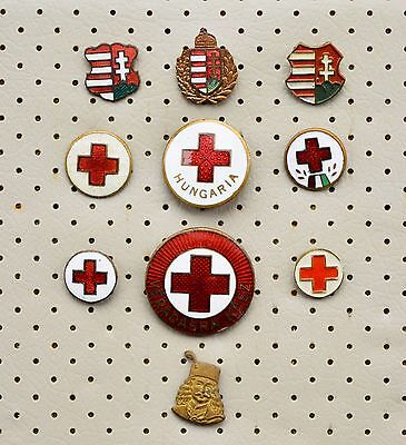 Hungary-Coat of Arms & Red Cross,Rákóczi 10 vintage pins