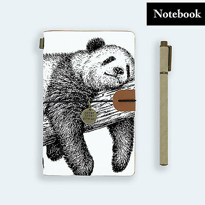 Hand Made Genuine Leather Journal Travel Diary Travelers Notebook Size Panda