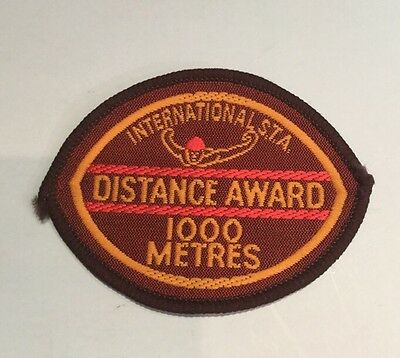 International S.T.A Swimming Distance Award 1000 Mtrs Cloth Vintage Patch Badge