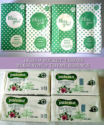 4 PACKS WHITE POCKET TISSUES - BLESS YOU! x10 THYME ESSENCE SCENTED x9 SOFT FEEL