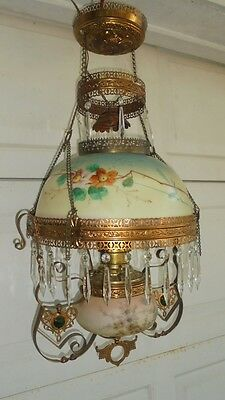 Antique Hanging Parlor Lamp Miller Lamp Company c.1895 Crystal Prisms Beautiful