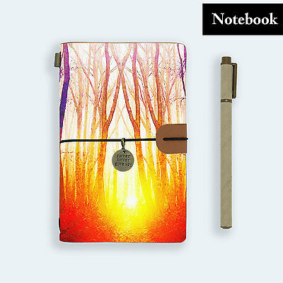 Hand Made Genuine Leather Journal Travel Diary Travelers Notebook Size Forest