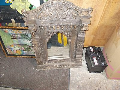 Gothic Style Mirror Wooden Carved Antique Vintage