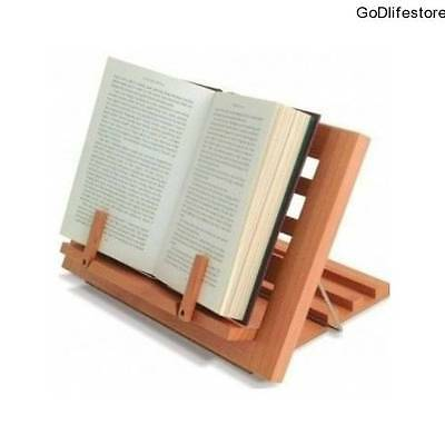 Cookbook Holder Stand Adjustable Wooden Recipe Reading Display Music Books Rest