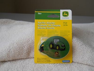 The First Years Pacifier Attacher  (John Deere) Green Tractor Bpa Free   Age 0M+