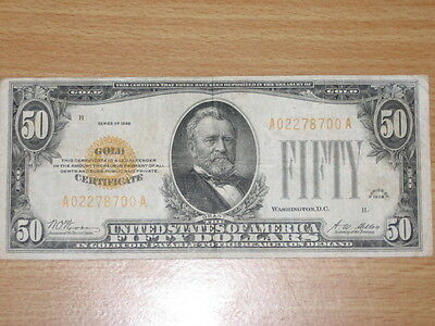 1928 $50 Dollar Note - Gold Certificate