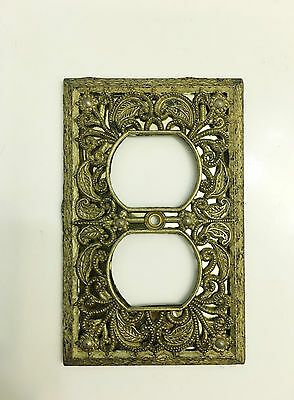 Vintage Set of 2 Ornate Brass Wall Receptacle Outlet Cover