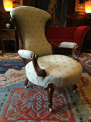 Stunning Antique Armchair Upholstered Victorian Walnut 19th Century