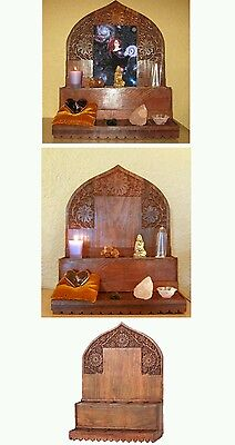 beautifully carved wooden alter,  stained to look old, wicca or other religions
