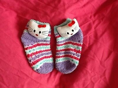 Stripy Slipper Socks with Hello Kitty Infant Size 9-12, Excellent Condition