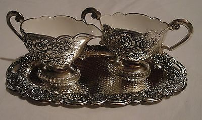 Eales 1779 Silverplate Sugar and Creamer with Tray Set