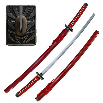 Renji Abarai Sword Bleach Anime Zabimaru Red Katana Burgundy Cosplay STEEL