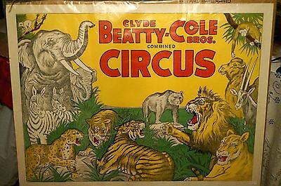 Vintage Clyde Beatty-Cole Bros. Combined Circus Poster