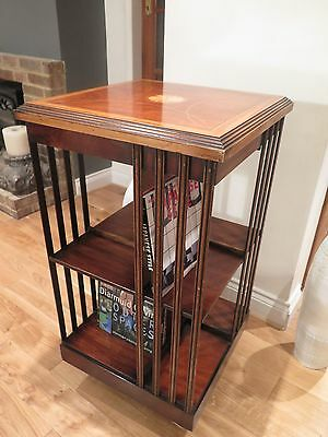 Immpressive Edwardian Inlaid Walnut Revolving Bookshelf with castors