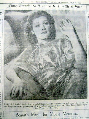 1939 newspaper w LUCILLE BALL Glamour Photo & AD ForHer New Movie FIVE CAME BACK