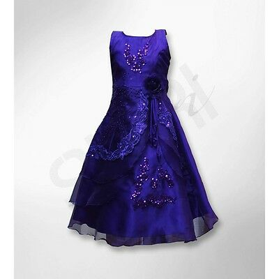 Cadbury Puprle Layered Flower Girl Dress  Wedding Party Prom Girls Dresses