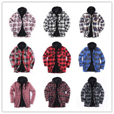 Flannel Jacket Plaid Jacket Hooded Zip Sherpa Lined