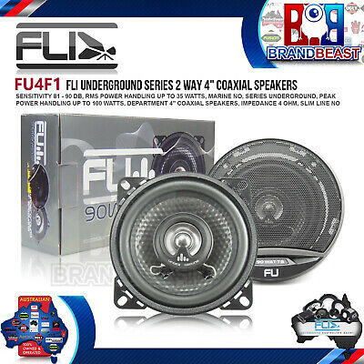 "New Fli Underground Fu 4 90w 4"" 2 Way Car Audio Speaker System Shalow Mount"