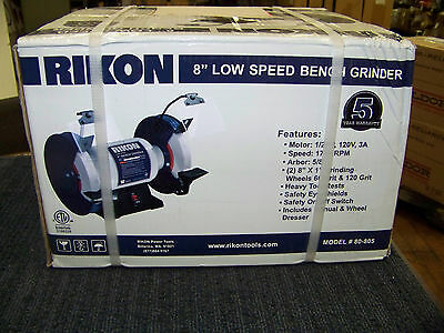 "Rikon 8"" Low Speed Bench Grinder 1/2 HP 120V 3A 1750 RPM 5/8"" Arbor 80-805 New"