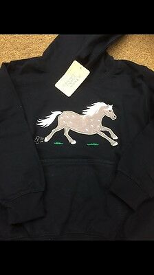 DAPPLE THE PONY APPLIQUÉ  HOODIE Age 7/8 NAVY BLUE BNWT