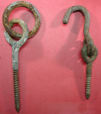 Fantastic Antique Farm Lane Post Chain Gate Hook  Or Hitching Post Eye #01