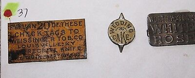 Lot of 3 Vintage Tobacco Tags: Louisville, KY, Wedding Cake, White Ross Lot 37