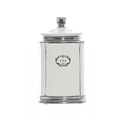 New White/Silver Porcelain Tea Canister Container Jar with Lid