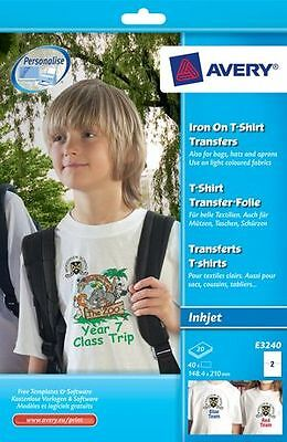 40 Transferts Tshirts clairs pour textiles clairs, 148,4 x 105 mm - Format A5 -