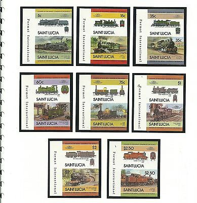 St. Lucia 1985 Railway Laos (3rd series) SG761-76 IMPERFORATE Pairs, mnh.