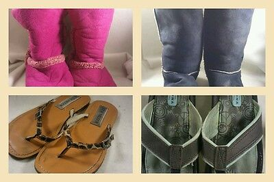4 Pairs Girls Shoes Pink Black Soft Boots plus Steve Madden Arizona Sandals