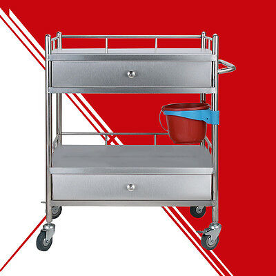 Very 2 Long Drawers Portable Serving Medical Dental S19T Cart Trolley Top