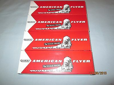 "4 Reproduction American Flyer Freight Car Boxes. 9.5"" Long"