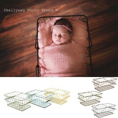 Newborn Baby Child Metal Vintage Shopping Wire Basket Photo Photography Prop