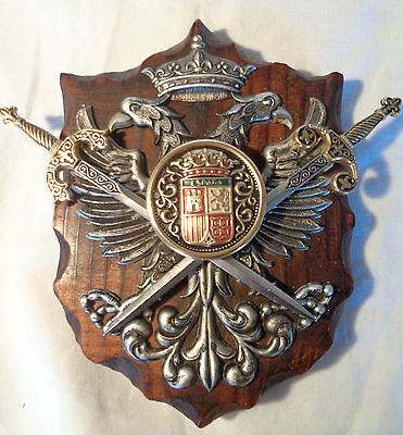 Medieval Coat of Arms Wood Plaque with Crown Swords on Shield.