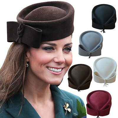 Ladies Wool Felt Beret Hat Fascinator Pillbox Royal Ascot Race Day Wedding A253