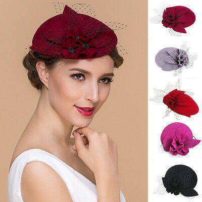 Ladies Floral Wool Felt Hat Fascinator Headband Cocktail Royal Ascot Race A044
