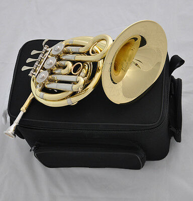 """Top gold Bb key Mini French horn 6.5"""" bell with new case mouthpiece"""