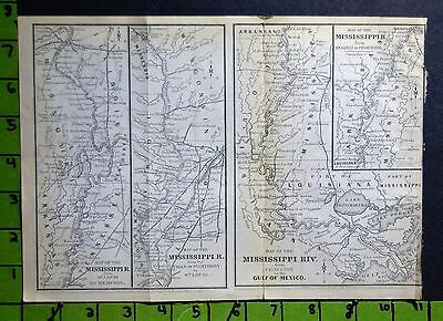 Mississippi River Antique Map Printed 1860 8x11 Inches