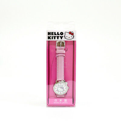 Hello Kitty Kids Children Girls Watch, Pink Leather Band, Made in Japan