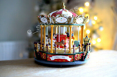 Rotating Christmas Carousel with Music and Lights Collectable Indoor Display
