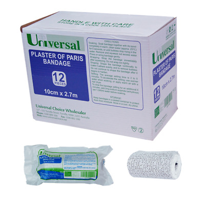 Universal Plaster Of Paris Cast Bandage 10cm. x 2.7 metres 12 Pieces per Box